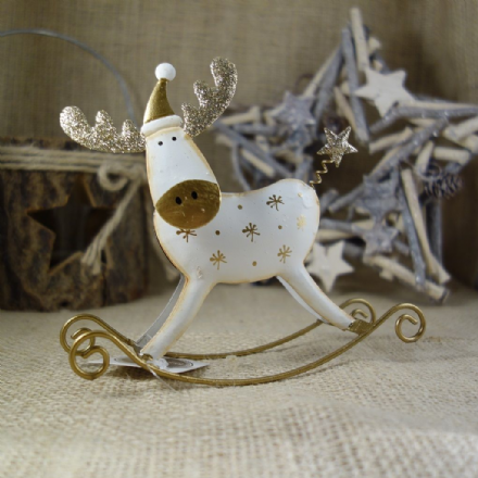 50% OFF Cream Metal Rocking Reindeer